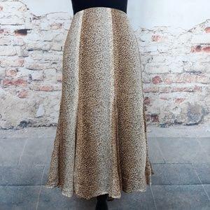 Jones New York XL Silk Animal Cheetah A-Line Skirt